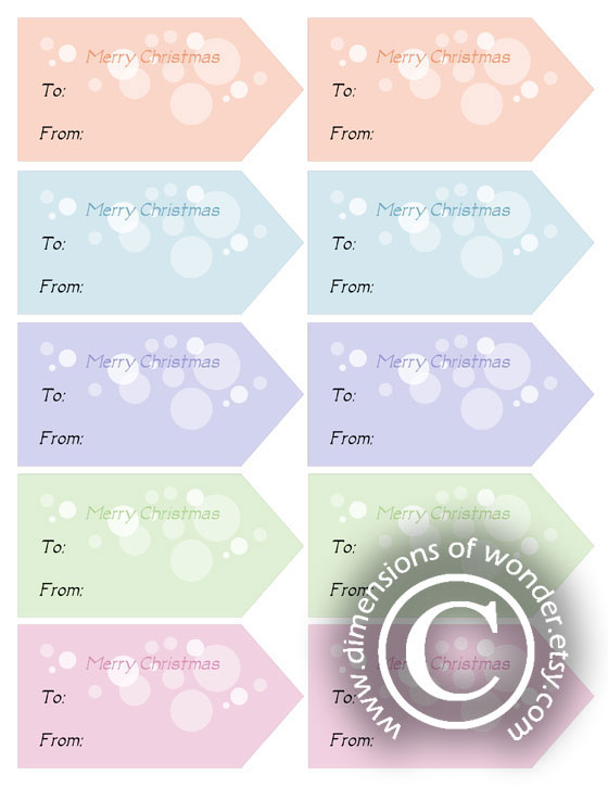 free printable Christmas tags pastel colors coral red blue lilac purple green pink