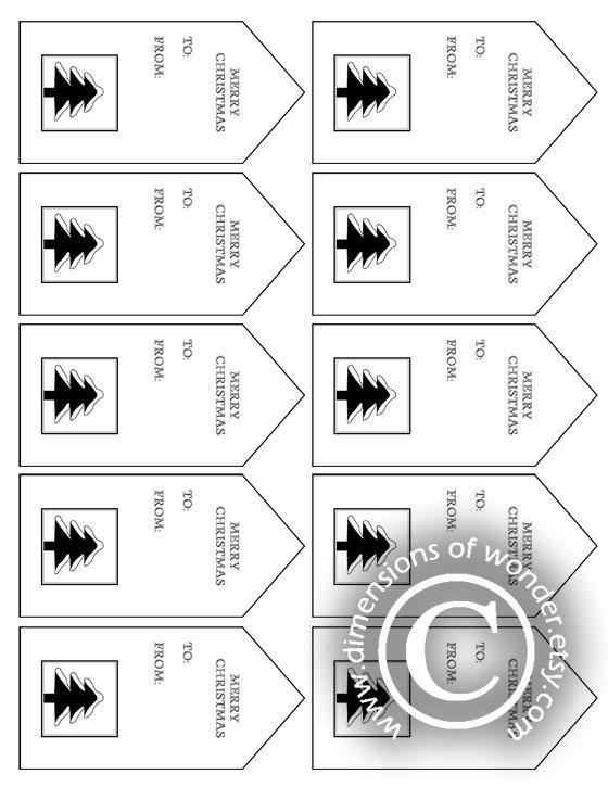 free printable Christmas tags black white Christmas tree