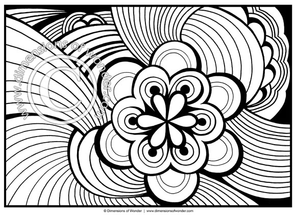 Abstract coloring pages, printable adult coloring pages.