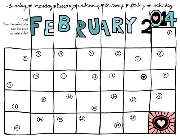 Free Printable Monthly Calendar February 2014