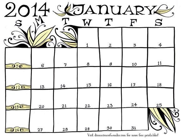 Free Printable Monthly Calendar January 2014