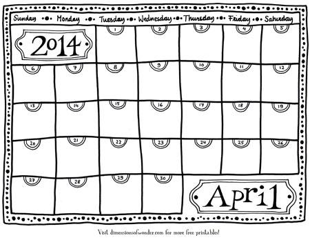 Free Printable Monthly Calendar April 2014, Printable Calendars, black & white