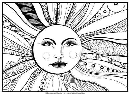 sun coloring page printable