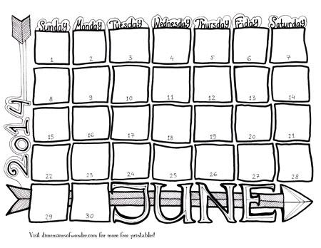free printable monthly calendar june 2014