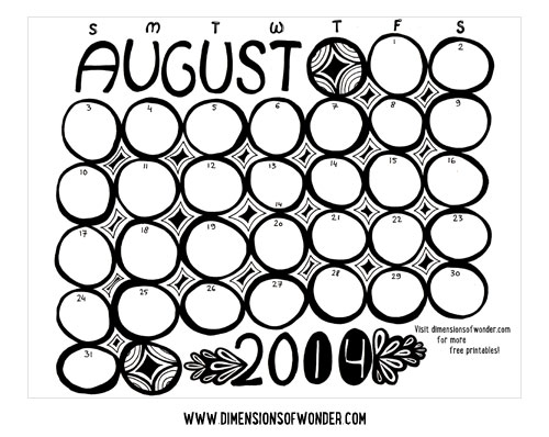 Free Printable Monthly Calendar August 2014, Cute Printable Calendars