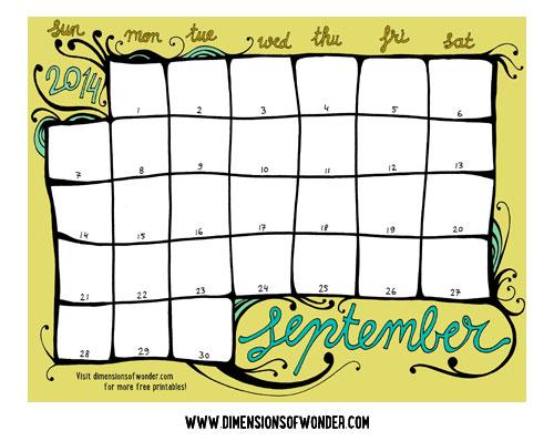 Free Printable Monthly Calendar September 2014, Cute Printable Calendars