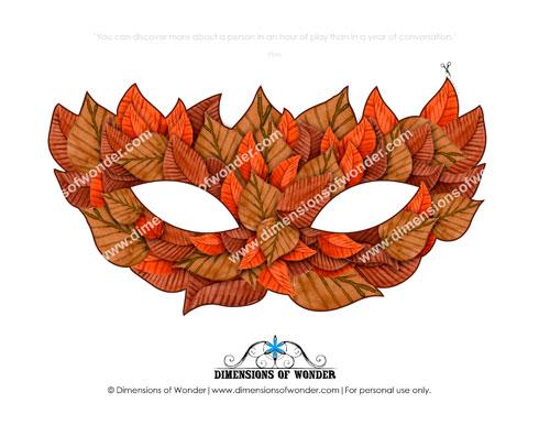 printable halloween masks, printable masks for children, fall leaves