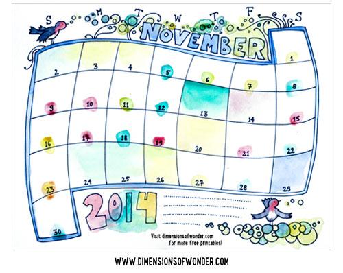 free printable monthly calendar november 2014, printable calendars hand drawn