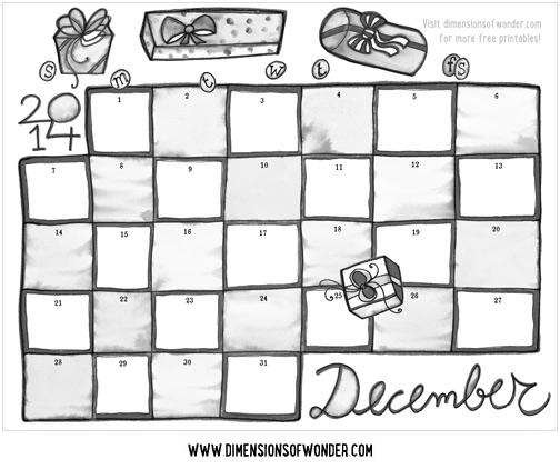 free printable monthly calendar december 2014 black white