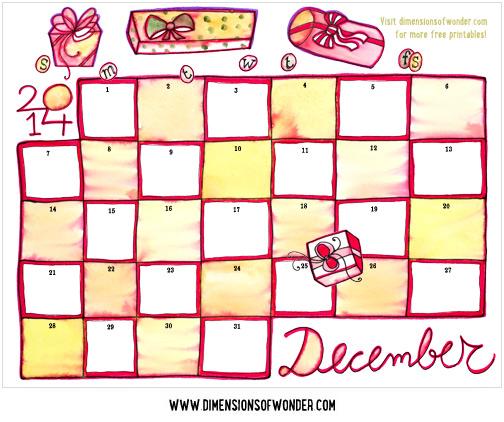 free printable monthly calendar december 2014 color