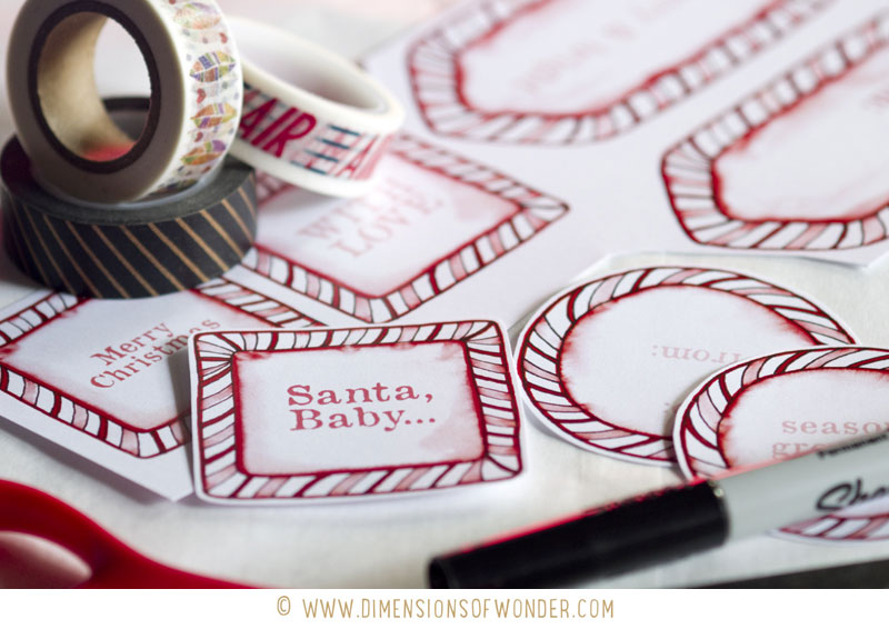 free printable Christmas labels / printable Christmas tags, DIY crafts, wrapping, square labels