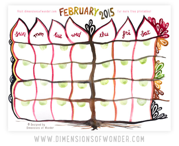 free printable monthly calendar February 2014, monthly printable calendars, hand drawn, watercolor