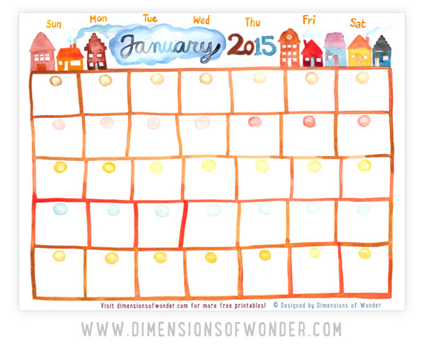 free printable monthly calendar January 2015, hand drawn, watercolor