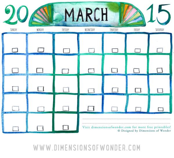 printable calendar march 2015, free printable monthly calendar