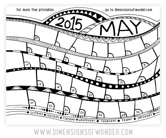 free printable monthly calendar May 2015 black and white
