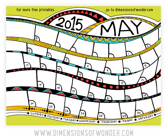 free printable monthly calendar May 2015 color