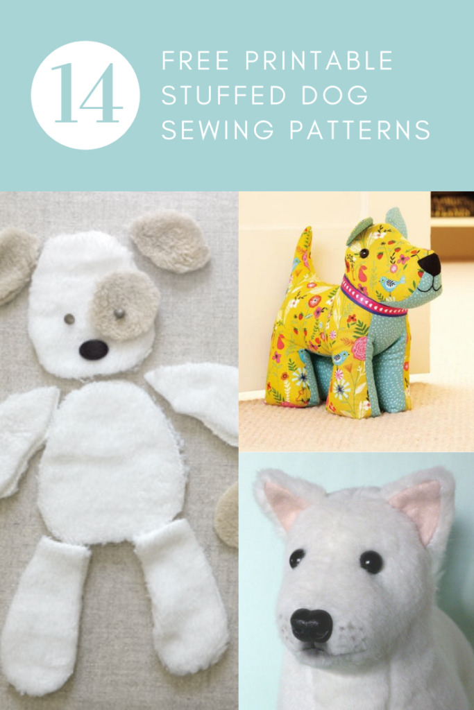 adorable stuffed dog toy sewing pattern, free, printable