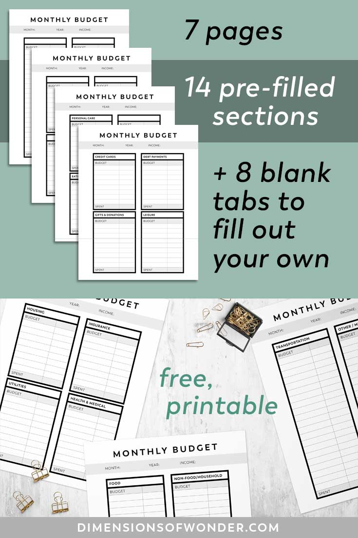 printable monthly budget planner free download