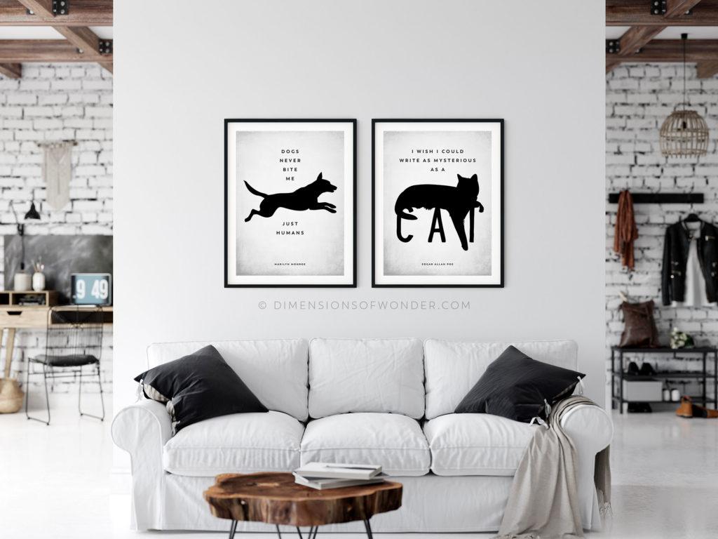 modern free printable art minimalist scandinavian dog cat quote