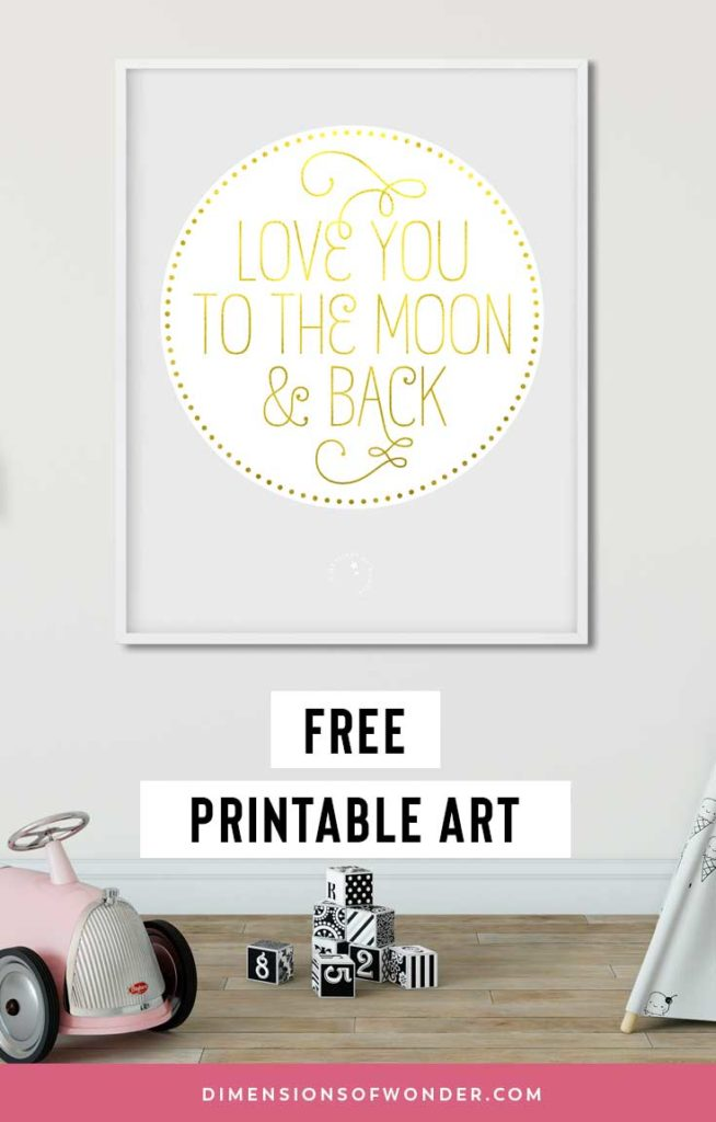 love you to the moon & back printable art grey white gold