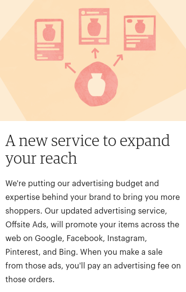 offline ads announcement in etsy shop dashboard