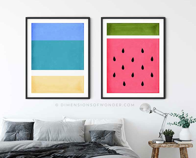 Tropical Beach Watermelon Printable Modern Abstract Wall Art