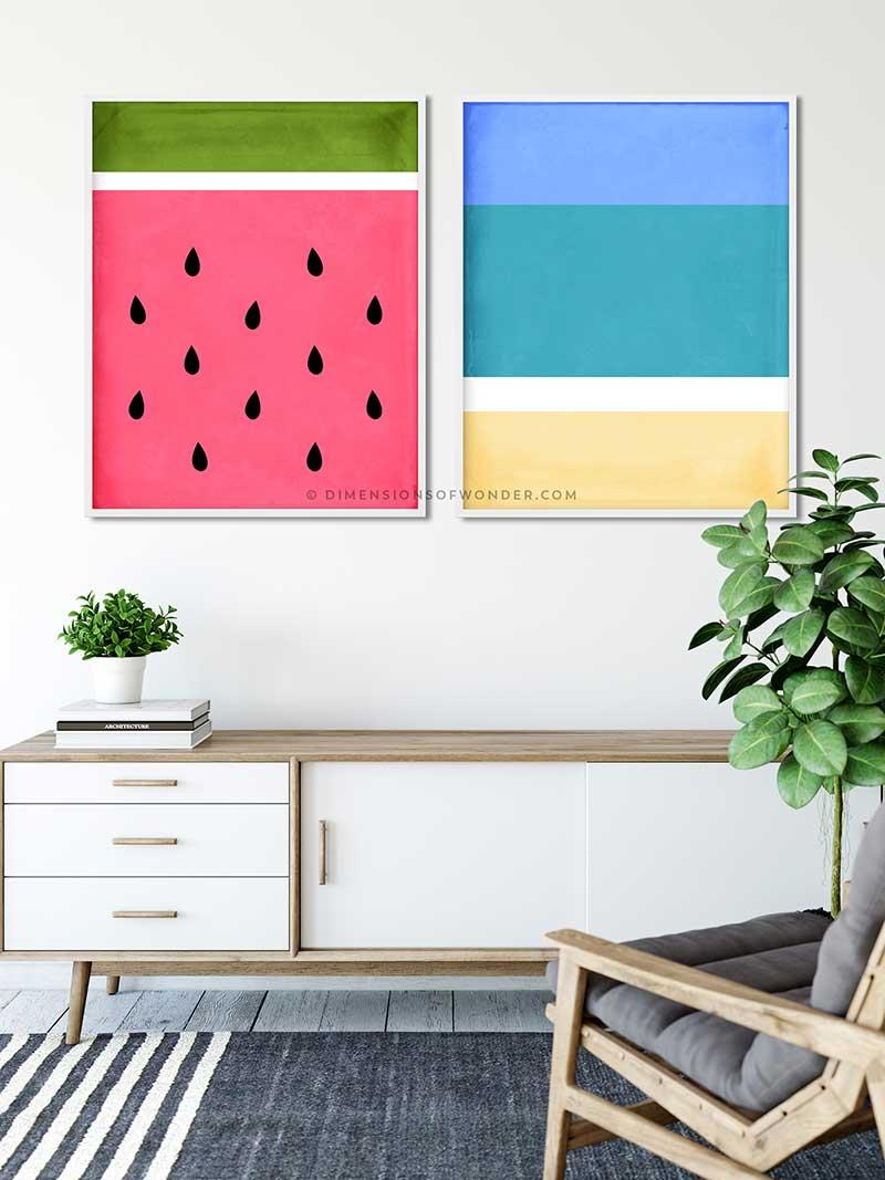 set of 2 printable wall art