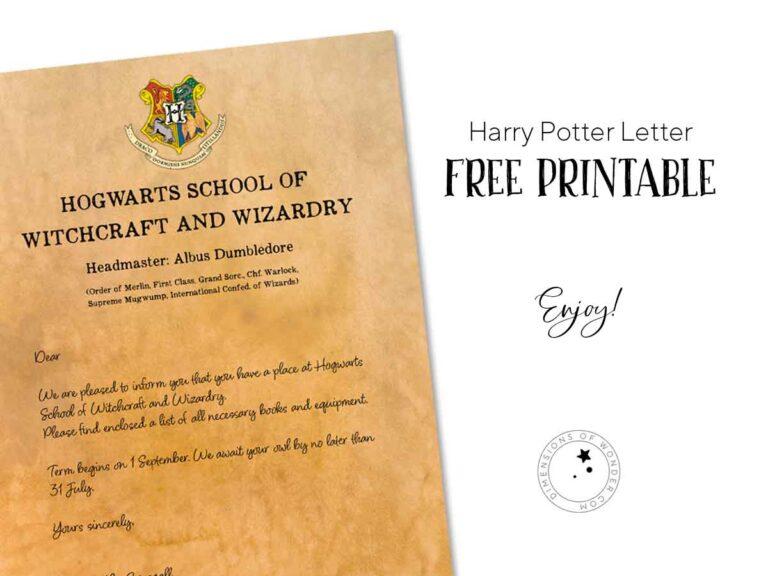 harry potter letter free printable