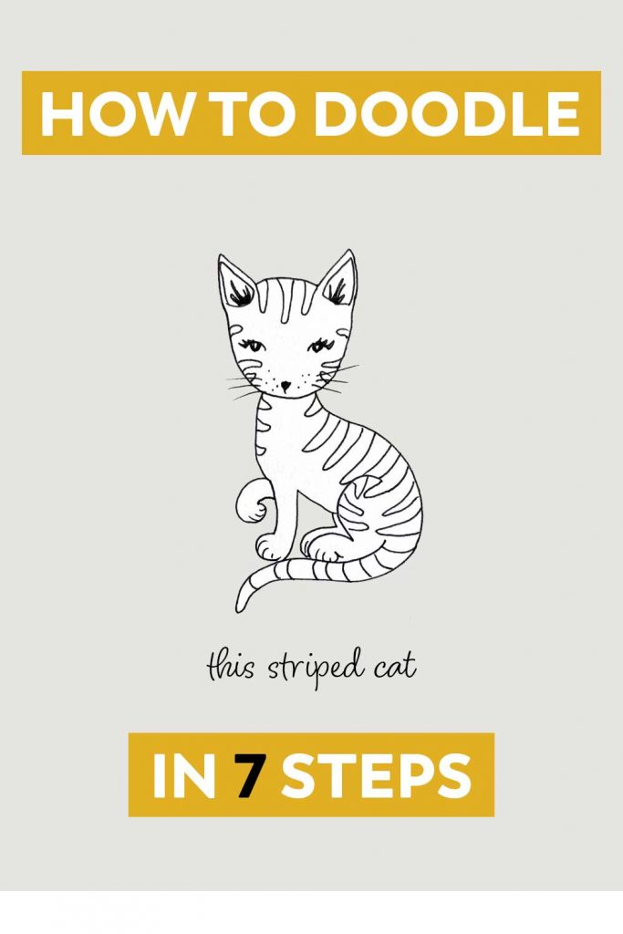 doodle striped kitty pin 1