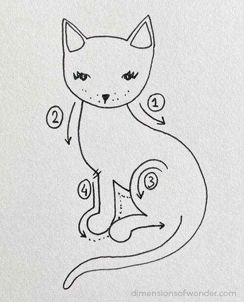 doodle striped kitty step 5