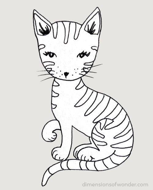 doodle striped kitty step 7
